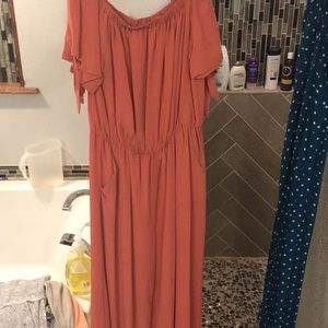Off shoulder jumpsuit dusty rose color